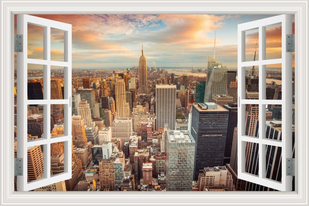 Tranh dán tường cửa sổ 3D cho không gian nhà thêm sống động